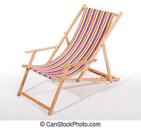 Wooden deck chair on white