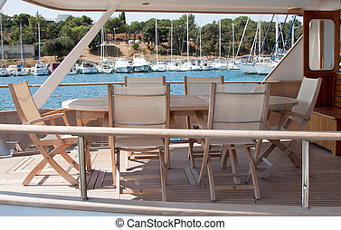Wooden deck on boat