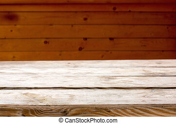 Wooden deck table on old grunge background