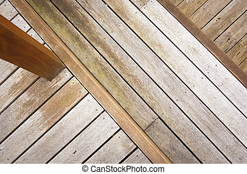 Wooden decking at various heights in aged timber