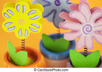 Wooden decorative painted flowers