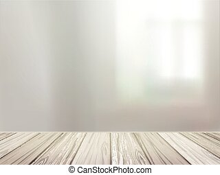 wooden desk over blurred interior scene - close-up look at...