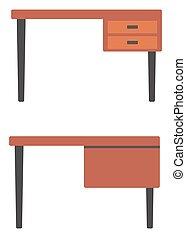 Wooden desk with drawers. - Wooden desk with drawers vector...