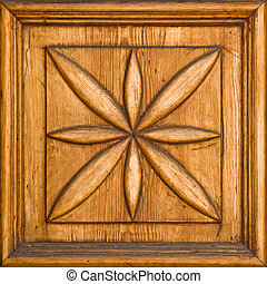 Wooden detail - Carved wooden floral detail with a frame