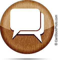 wooden dialog icon on a white