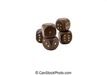 wooden dice isolated