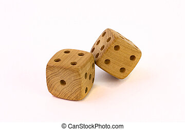 Wooden dice on white background
