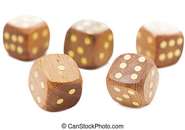 Wooden dices, isolated on white