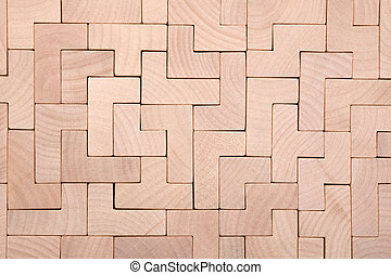 Wooden different shapes blocks background