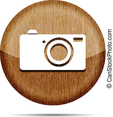 wooden digital camera icon button