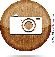 wooden digital camera icon button