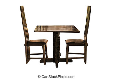 Wooden dining table set isolated.