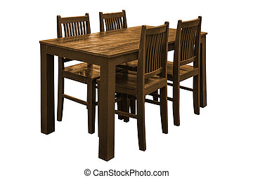 Wooden dining table set.