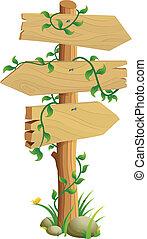 Wooden Direction Sign Vector Illustration
