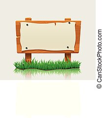 wooden directional sign with grass - illustration of wooden...