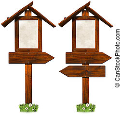 Wooden Directional Signs with Roof - Two empty wooden...