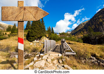 Wooden Directional Trail Sign in Mountain - Wooden trail...