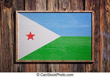 Wooden Djibouti flag