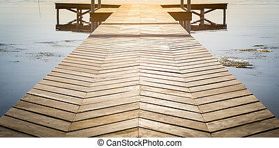 Wooden Dock Background With Copy Space