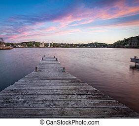 Wooden dock in Mahone Bay Nova Scotia