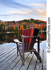 Wooden dock on autumn lake