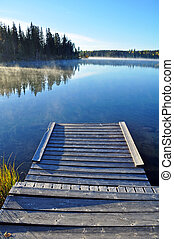Wooden dock on lake