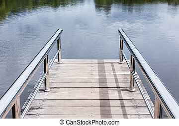 Wooden dock overlooking a lake