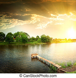 lake in the evening