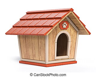 Wooden dog house Side view 3D