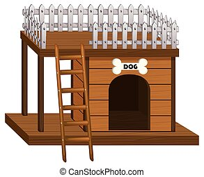 Wooden doghouse with ladder illustration