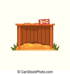 Wooden doghouse with straw litter vector Illustration on a white background