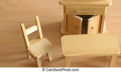 Wooden doll furniture: table, chairs and buffet. Miniature...