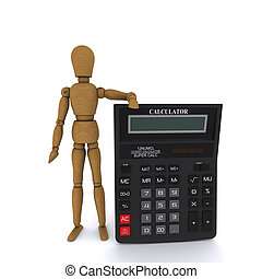 Wooden doll-man holding a calculator. 3D rendering