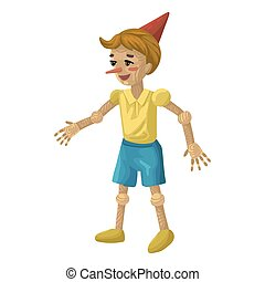 Pinocchio or Buratino cartoon vector character. Wooden boy doll in a cap with long nose. Fairy tale puppet for children book covers. Isolated on white background. Flat style cute illustration.