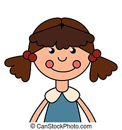 wooden doll toy icon vector illustration