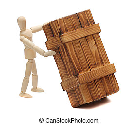 wooden doll with big box