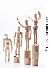 Wooden dolls lined rank order