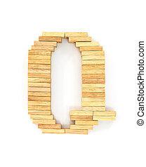 Wooden domino alphabet, Q