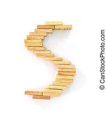 Wooden domino alphabet, S