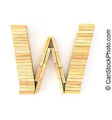 Wooden domino alphabet, W