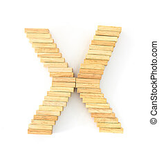Wooden domino alphabet, x