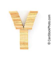 Wooden domino alphabet, Y