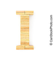 Wooden domino alphabet,I - english alphabet letters from...