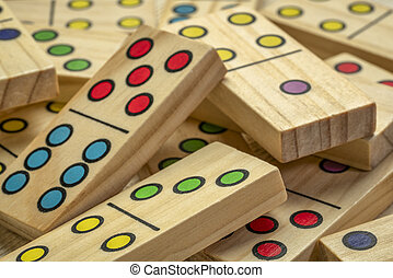 wooden domino pieces abstract