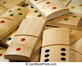 Wooden dominoes - bamboo dominoes close-up, focus on blank ...