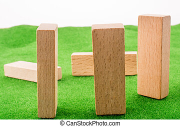 Wooden dominos on green grass