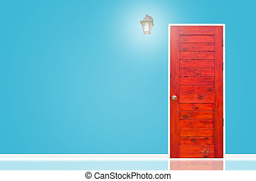 Wooden door and lamp with isolated blue sky wall texture.