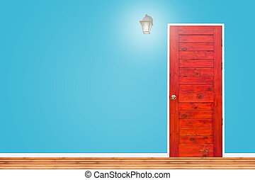 Wooden door and lamp with isolated blue wall texture.