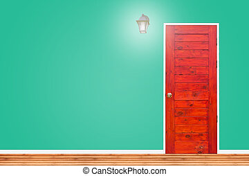 Wooden door and lamp with isolated green vintage wall texture.