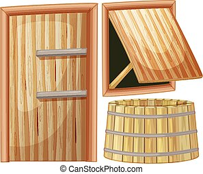 Wooden door and window